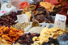 Dried fruits on display at a market Royalty Free Stock Photos