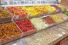 Dried fruits on display Royalty Free Stock Photo