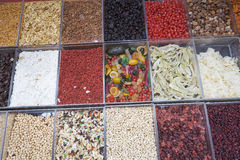 Dried fruits on display Stock Photos