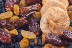Dried fruits fig, dates, raisins Royalty Free Stock Images