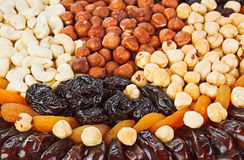 Dried fruits food background with nuts Stock Photo