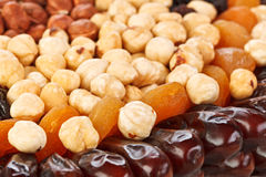 Dried fruits food background with nuts Stock Images