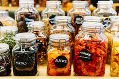 Dried Fruits In Glass Jars For Sale In Market Royalty Free Stock Photography