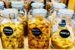 Dried Fruits In Glass Jars For Sale In Market Royalty Free Stock Image