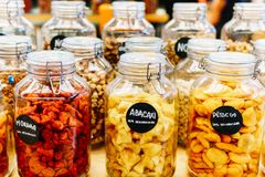 Dried Fruits In Glass Jars For Sale In Market Stock Photo