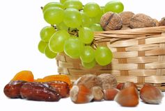 Dried fruits and grapes Stock Photos