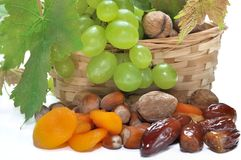 Dried fruits and grapes Royalty Free Stock Photos