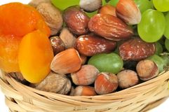 Dried fruits and grapes Stock Images