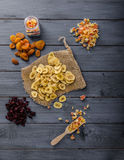 Dried fruits, healthy and delicious Stock Photos