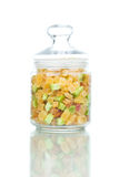 Dried fruits in the jar. On white background Royalty Free Stock Photo