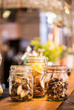 Dried fruits in the jars Royalty Free Stock Photo