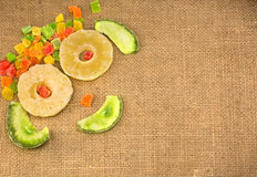 Dried fruits, laid out in the form of a smile, on a napkin from. A burlap Stock Image