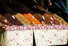 Dried fruits and legumes in Morocco. Royalty Free Stock Photo