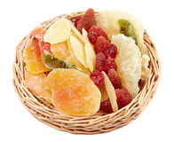 Dried fruits in a little basket Royalty Free Stock Image