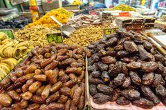 Dried fruits in the market, Jerusalem, Israel. Dried fruits in the Mahane Yehuda market in Jerusalem, Israel Stock Photo