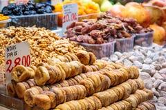 Dried fruits at market Royalty Free Stock Photo