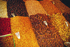 Dried fruits on the market in Marrakesh. Dried fruits on the market in Morocco - Marrakesh Royalty Free Stock Image