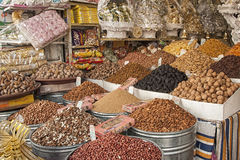 Dried Fruits in a Market souk in Fes, Morocco. Stock Photography