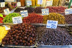 Dried fruits at the market Stock Photos