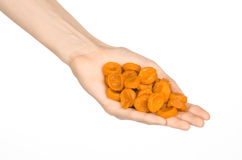 Dried fruits and meal preparation topic: human hand holding an orange dried apricots isolated on white background in studio Stock Photos