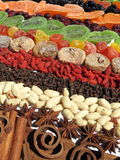 Dried fruits, nut and spice Royalty Free Stock Images