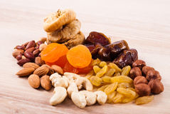 Dried fruits and nuts Royalty Free Stock Images