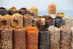 Dried fruits and nuts. Big variation of Dried fruits and nuts royalty free stock photos