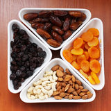 Dried fruits and nuts Royalty Free Stock Photos