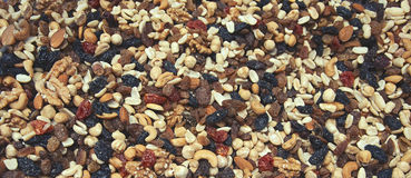 Dried fruits and nuts close up royalty free stock photos