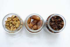 Dried fruits. Nuts and dried fruits collection stock image