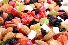Dried fruits and nuts collection Royalty Free Stock Photo