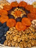 Dried fruits an nuts for healthy heart, full of vitamins and potassium, antioxidant. Organic food for everyone's health. Close up royalty free stock image
