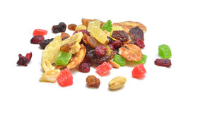 Dried fruits. And nuts isolated on white Stock Images