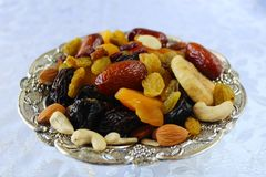 Dried fruits and nuts of Israel, mix. Dried fruits - symbol of the Jewish holiday Tu Bishvat stock images