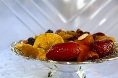 Dried fruits and nuts of Israel. Dried fruits and nuts - symbols of the Jewish holiday Tu Bishvat stock images
