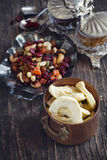 Dried fruits and nuts mix stock image
