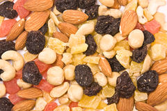 Dried fruits and nuts mix texture Stock Image