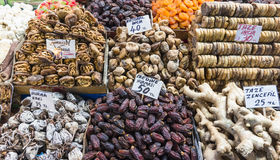 Dried fruits and nuts for sale Stock Image