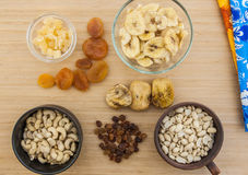 Dried fruits and the nuts Stock Photo