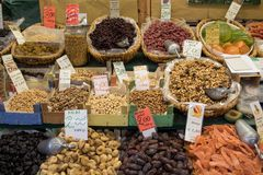 Dried Fruits and Nuts. A variety of dried fruits and nuts at an Italian market Royalty Free Stock Photo