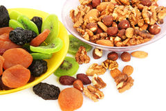 Dried fruits and nuts Stock Photos