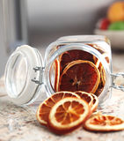 Dried fruits oranges placed in the jar Stock Photos