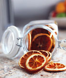 Dried fruits oranges placed in the jar Royalty Free Stock Photos