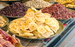 Dried fruits placed on trays Royalty Free Stock Photos
