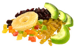 Dried fruits from pomelo, pineapple, cranberries, candied fruits. Raisins isolated on white background Royalty Free Stock Images