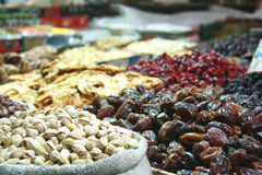 Dried fruits. Receptacles with dried fruits in Mahane Yehuda, Israel Stock Photo