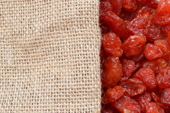Dried fruits and sackcloth Royalty Free Stock Photo
