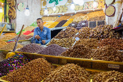 Dried fruits seller Morocco Royalty Free Stock Photography