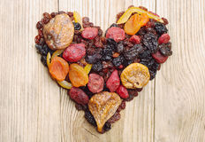 Dried fruits in the shape of hearts Royalty Free Stock Image