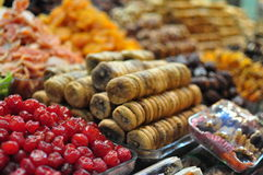 Dried fruits. Stacks of dried fruits on display on Istanbul's spice bazaar stock images